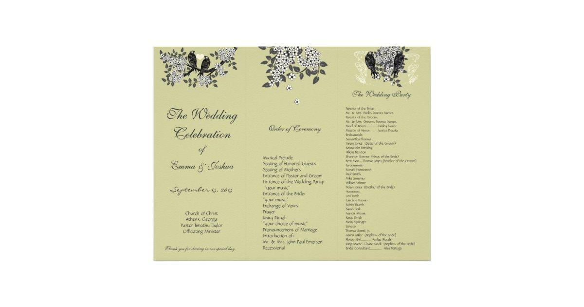 Vintage Birds On Branch TriFold Wedding Program Letterhead