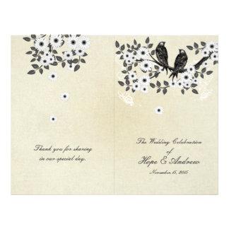 Vintage Birds Parchment Bi-Fold Wedding Program