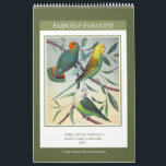 """Vintage Birds - Parrots and Parakeets 2018 Calendar<br><div class=""""desc"""">Twelve-month wall calendar with antique illustrations of parrots and parakeets from The Illustrated Book of Canaries and Cage-Birds,  published in 1878. Digitally cleaned and enhanced richly colored vintage images. Features over two dozen different species of parrots and parakeets.</div>"""