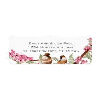 Vintage Birds Pink Cherry Blossom Labels zazzle_label