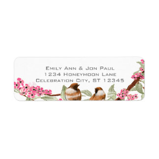 Vintage  Birds Pink Cherry Blossom Labels
