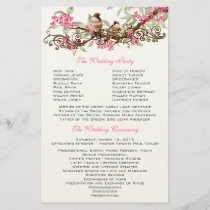 Vintage Birds Pink Flowers Wedding Program