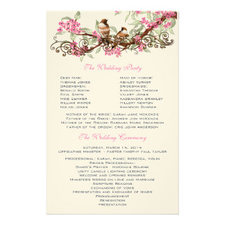 Vintage Birds Pink Flowers Wedding Program Stationery