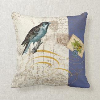 Vintage Birds Postage Stamp Songbird Swirl Collage Pillow