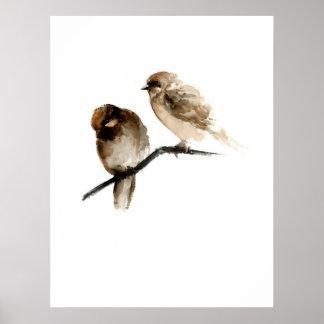 Vintage birds poster with grey birdies