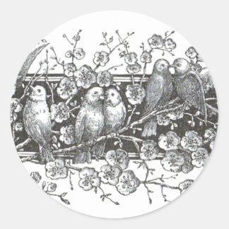 Vintage Birds Round Stickers