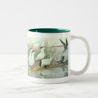 Vintage Birds, Shorebirds in a Marsh by Fuertes Two-Tone Coffee Mug