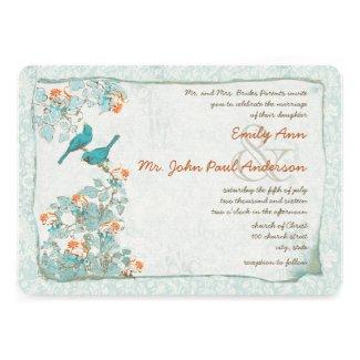 Vintage Birds Turquoise and Orange Damask Wedding Personalized Invites
