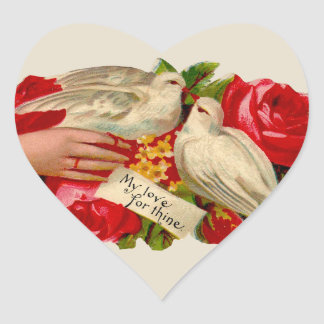 Vintage Birds Victorian Love Doves Heart Sticker