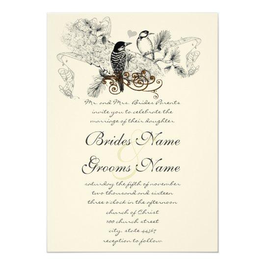 Vintage Birds Wedding Invitations