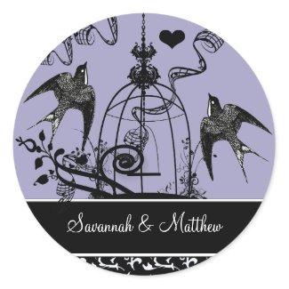 Vintage Birds Wedding Seal sticker