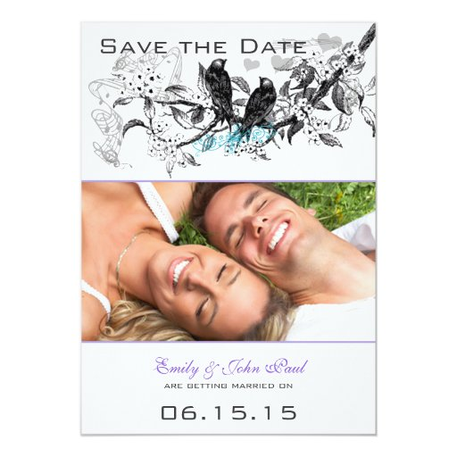 Vintage Birds White Flowers Wedding Save the Date 5x7 Paper Invitation Card