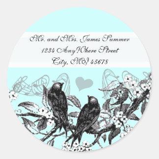 Vintage Birds White Flowers Wedding Stickers