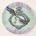Vintage Birds With Heart Locket Apparel and Gifts Beverage Coaster