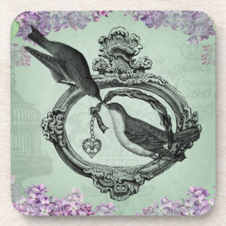 Vintage Birds With Heart Locket Apparel and Gifts Beverage Coasters