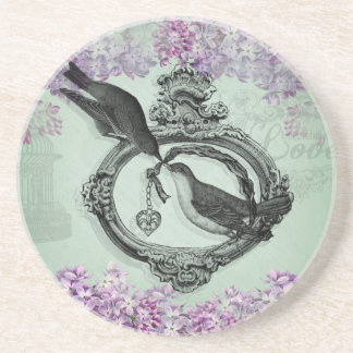 Vintage Birds With Heart Locket Apparel and Gifts Drink Coaster