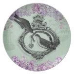 Vintage Birds With Heart Locket Apparel and Gifts Plate