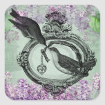 Vintage Birds With Heart Locket Apparel and Gifts Square Sticker