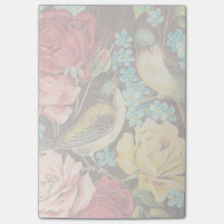 Vintage Birds With Pink and Yellow Roses Post-it Notes