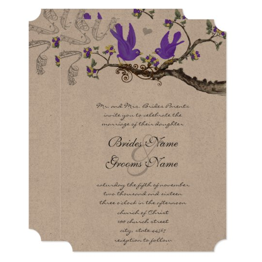 Vintage Birds Yellow & Purple  Wedding Invite