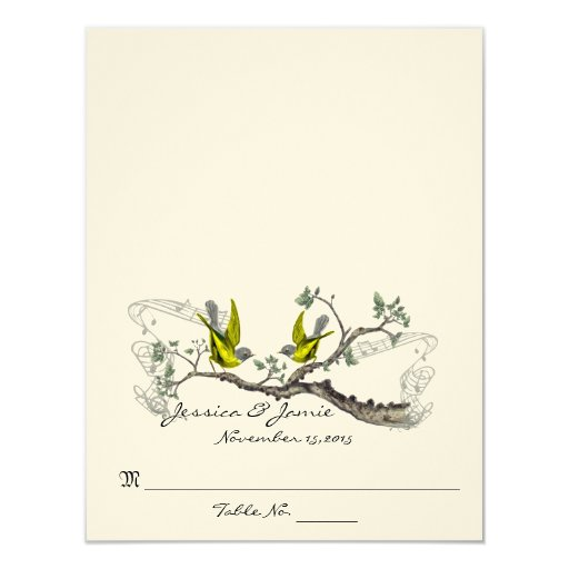 Vintage Birds Yellow Winged Gray Table Place Cards 11 Cm X 14 Cm Invitation Card