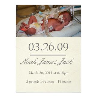 "Vintage Birth Announcement 6.5"" X 8.75"" Invitation Card"