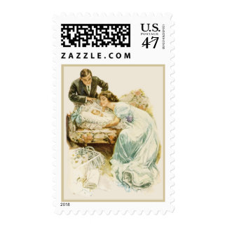 Vintage Birth Announcement Postage Stamps