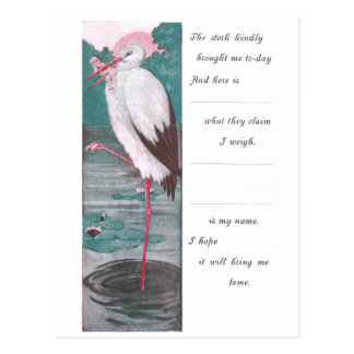 Vintage Birth Announcement with Stork Postcard