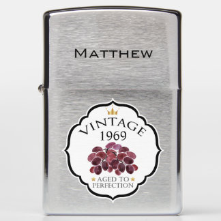 Vintage Birth Year and Name with Red Grapes Zippo Lighter