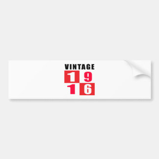 Vintage Birthday 1916 Bumper Stickers