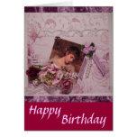 Vintage Birthday-3 feliz Tarjeton