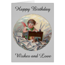 Vintage Birthday Angel Child Writing at Desk Card