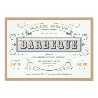 "Vintage Birthday Barbeque Invitations 5"" X 7"" Invitation Card"
