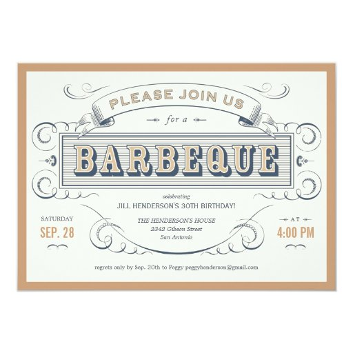 Vintage Birthday Barbeque Invitations