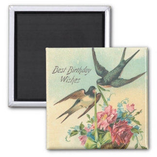 Vintage Birthday Barn Swallows 2 Inch Square Magnet