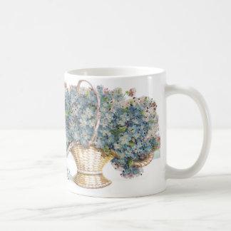 Vintage Birthday Beaded Basket of Blue Flowers Coffee Mug