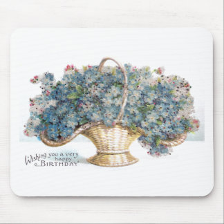 Vintage Birthday Beaded Basket of Blue Flowers Mouse Pad