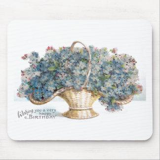Vintage Birthday Beaded Basket of Blue Flowers Mouse Pad