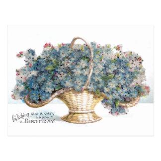 Vintage Birthday Beaded Basket of Blue Flowers Postcard
