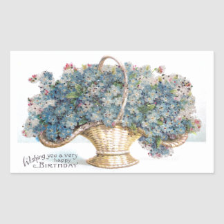Vintage Birthday Beaded Basket of Blue Flowers Rectangular Sticker