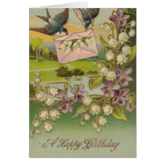 Vintage Birthday Birds Purple Flowers Card