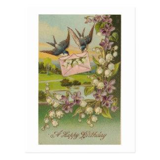 Vintage Birthday Birds Purple Flowers Postcard