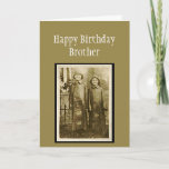 "Vintage Birthday Brother Fun Photo Card<br><div class=""desc"">Fun Vintage Photo of two brothers in the rain.  Great greeting for the brother you appreciate.</div>"