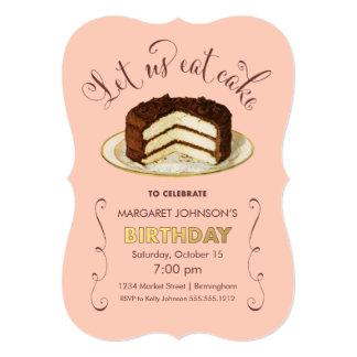 Vintage Birthday Cake Party Invitations