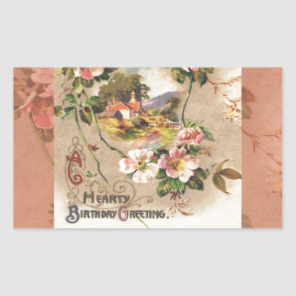 Vintage Birthday Card Greetings Floral Landscape Rectangular Sticker