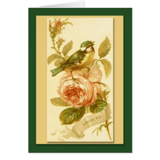 Vintage Birthday Card With Bird And Roses