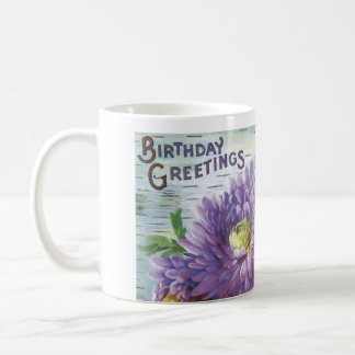 Vintage Birthday Cup With Flowers