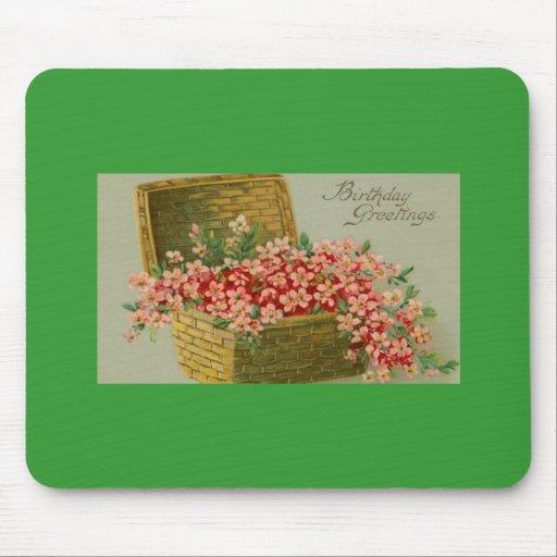 Vintage Birthday Flower Basket Mouse Pad