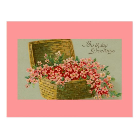 Vintage Birthday Flower Basket Postcard