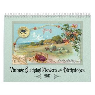 Vintage Birthday Flowers and Birthstones Calendar